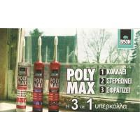 POLYMAX CRYSTAL CLEAR 280ml BISON Σιλικόνες Λευκές-Διάφανες-Στόκος σιλικόνης βαφόμενος